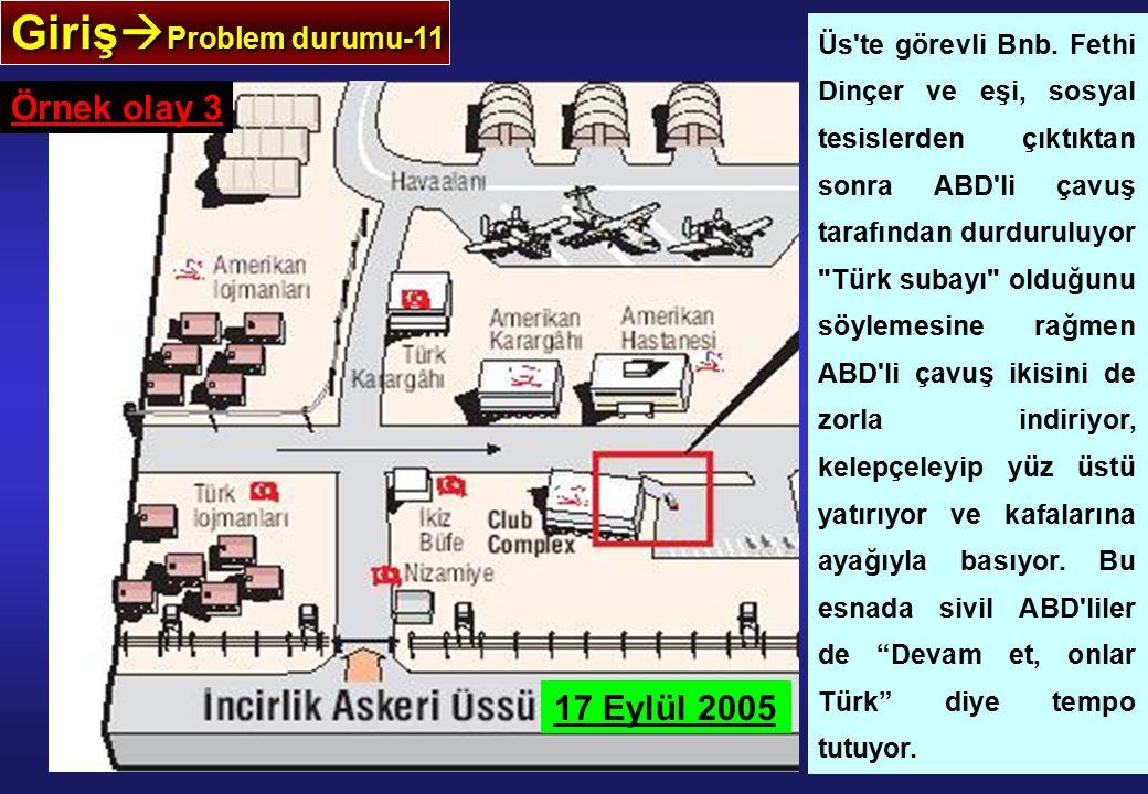 Giriş  Problem durumu-11 Örnek olay 3 Üs te görevli Bnb.