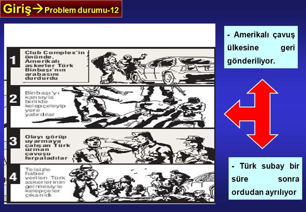 Giriş  Problem durumu-12 - Amerikalı çavuş ülkesine geri gönderiliyor. - Türk subay bir süre sonra ordudan ayrılıyor