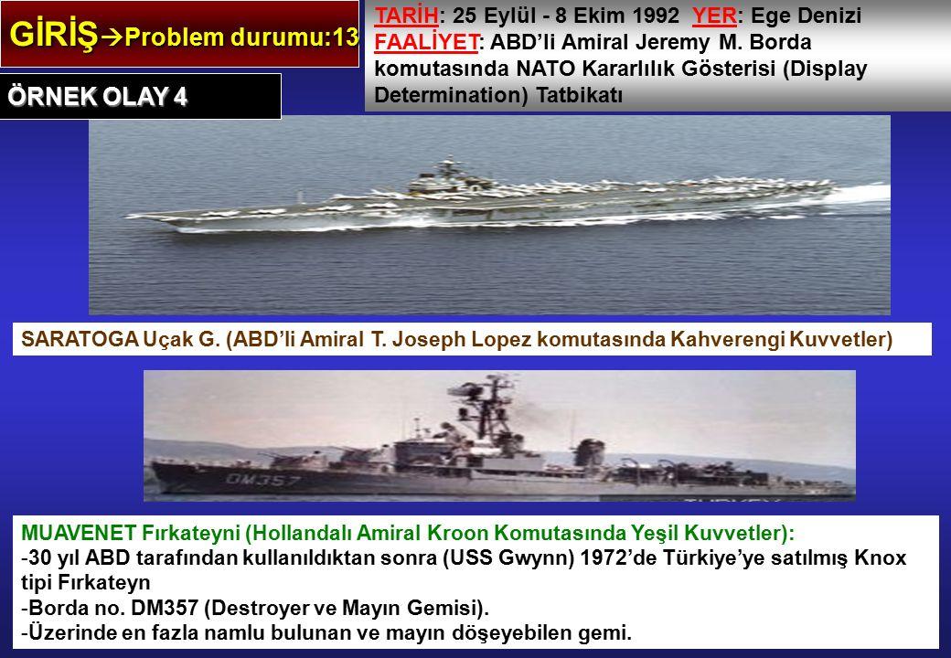 GİRİŞ  Problem durumu:13 TARİH: 25 Eylül - 8 Ekim 1992 YER: Ege Denizi FAALİYET: ABD'li Amiral Jeremy M. Borda komutasında NATO Kararlılık Gösterisi