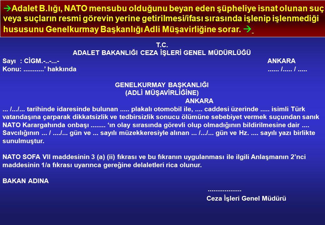  Adalet B.lığı, NATO mensubu olduğunu beyan eden şüpheliye isnat olunan suç veya suçların resmi görevin yerine getirilmesi/ifası sırasında işlenip işlenmediği hususunu Genelkurmay Başkanlığı Adli Müşavirliğine sorar.