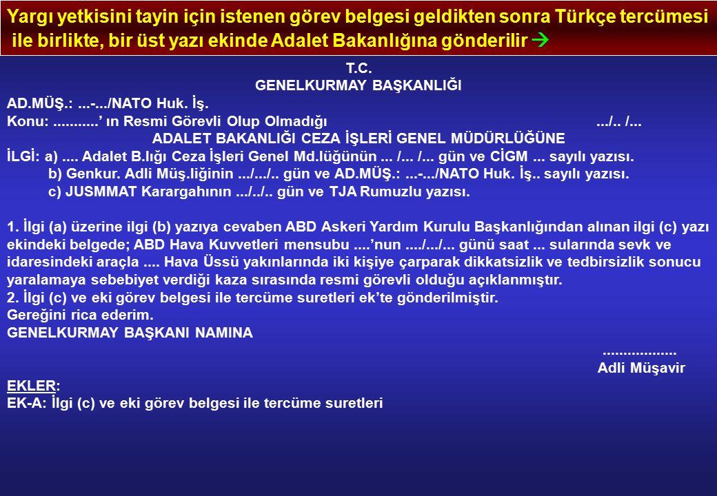 Yargı yetkisini tayin için istenen görev belgesi geldikten sonra Türkçe tercümesi ile birlikte, bir üst yazı ekinde Adalet Bakanlığına gönderilir  T.