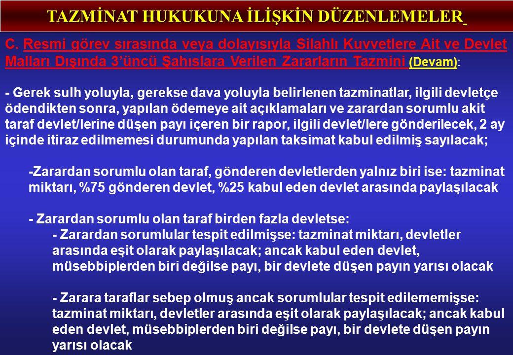 TAZMİNAT HUKUKUNA İLİŞKİN DÜZENLEMELER C.