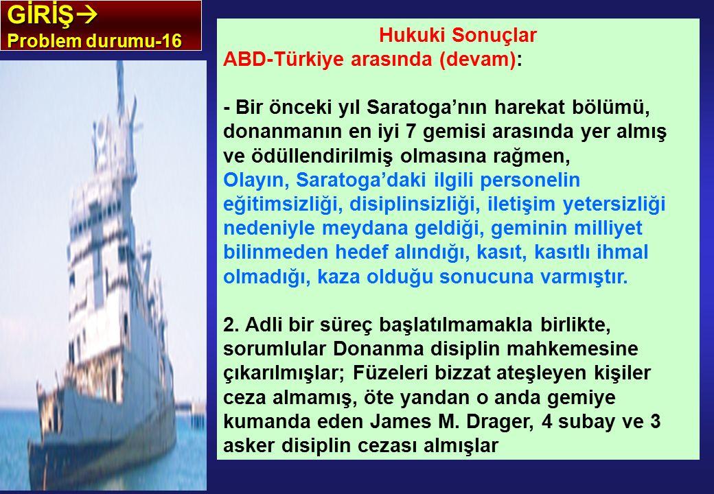GİRİŞ  Problem durumu-16 Hukuki Sonuçlar ABD-Türkiye arasında (devam): - Bir önceki yıl Saratoga'nın harekat bölümü, donanmanın en iyi 7 gemisi arası