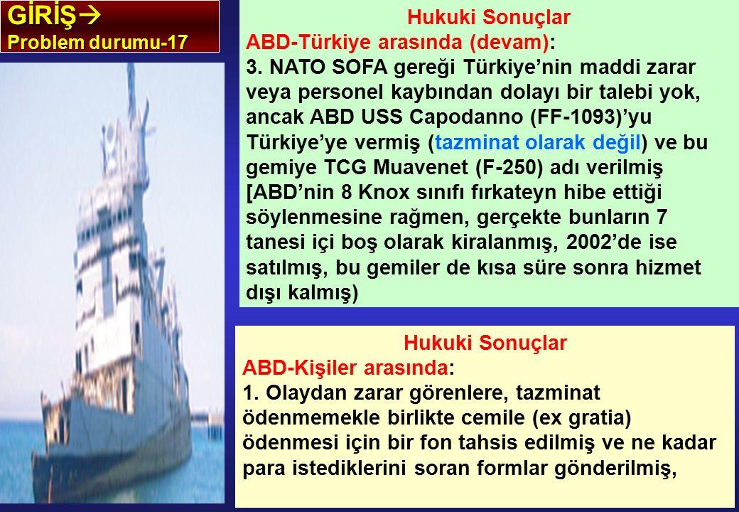 GİRİŞ  Problem durumu-17 Hukuki Sonuçlar ABD-Türkiye arasında (devam): 3. NATO SOFA gereği Türkiye'nin maddi zarar veya personel kaybından dolayı bir