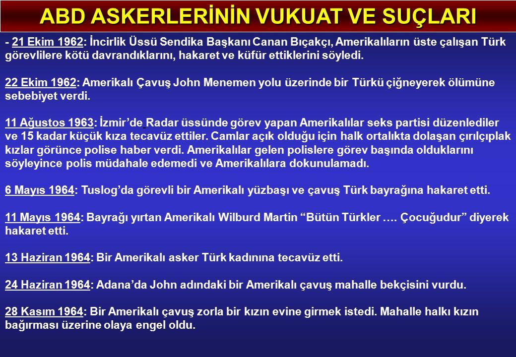 ABD ASKERLERİNİN VUKUAT VE SUÇLARI - 21 Ekim 1962: İncirlik Üssü Sendika Başkanı Canan Bıçakçı, Amerikalıların üste çalışan Türk görevlilere kötü davrandıklarını, hakaret ve küfür ettiklerini söyledi.