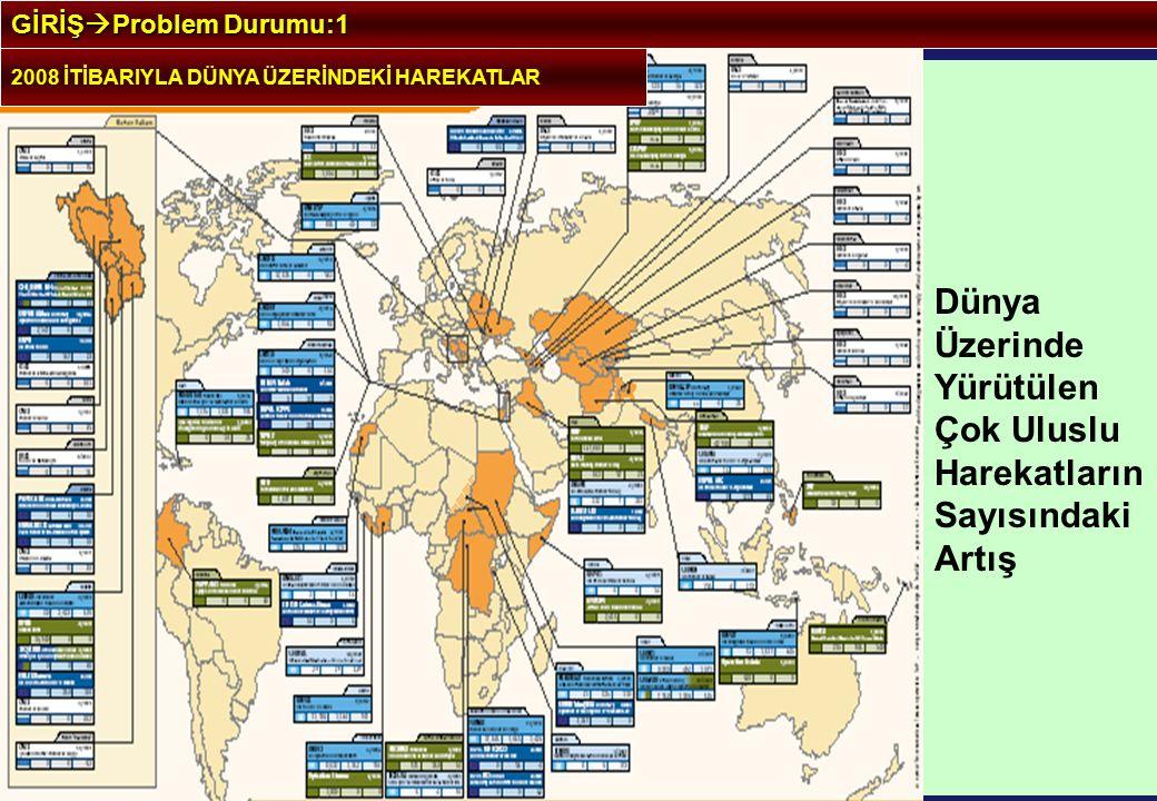2008 İTİBARIYLA DÜNYA ÜZERİNDEKİ HAREKATLAR GİRİŞ  Problem Durumu:1 Dünya Üzerinde Yürütülen Çok Uluslu Harekatların Sayısındaki Artış