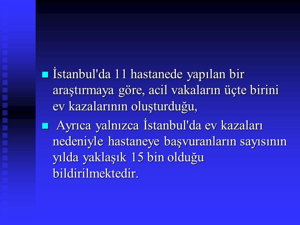İstanbul da 11 hastanede yapılan bir araştırmaya göre, acil vakaların üçte birini ev kazalarının oluşturduğu, İstanbul da 11 hastanede yapılan bir araştırmaya göre, acil vakaların üçte birini ev kazalarının oluşturduğu, Ayrıca yalnızca İstanbul da ev kazaları nedeniyle hastaneye başvuranların sayısının yılda yaklaşık 15 bin olduğu bildirilmektedir.