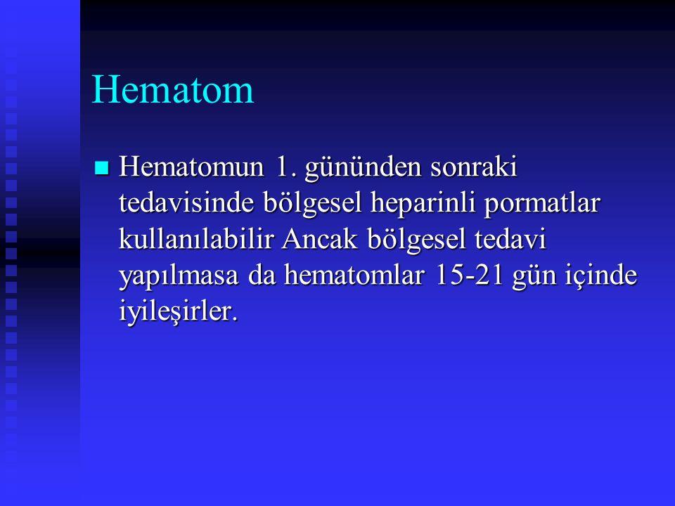 Hematom Hematomun 1. gününden sonraki tedavisinde bölgesel heparinli pormatlar kullanılabilir Ancak bölgesel tedavi yapılmasa da hematomlar 15-21 gün
