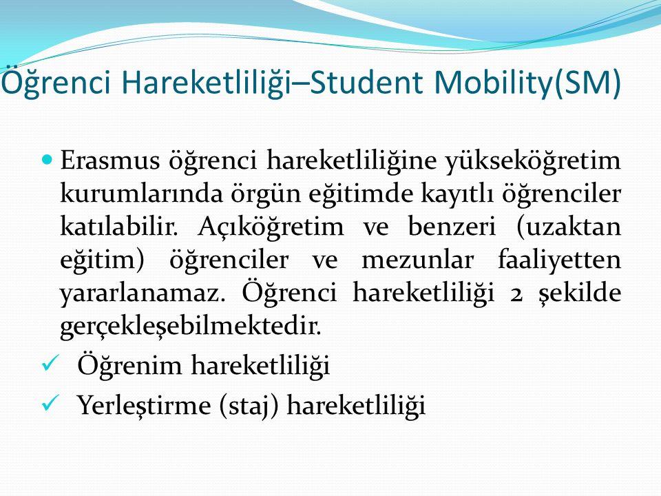 Öğrenci Hareketliliği–Student Mobility(SM) Erasmus öğrenci hareketliliğine yükseköğretim kurumlarında örgün eğitimde kayıtlı öğrenciler katılabilir.