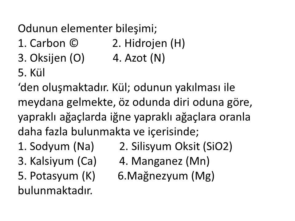 Odunun elementer bileşimi; 1. Carbon © 2. Hidrojen (H) 3. Oksijen (O) 4. Azot (N) 5. Kül 'den oluşmaktadır. Kül; odunun yakılması ile meydana gelmekte