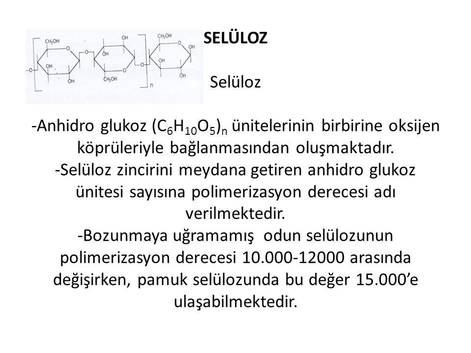 SELÜLOZ Selüloz -Anhidro glukoz (C 6 H 10 O 5 ) n ünitelerinin birbirine oksijen köprüleriyle bağlanmasından oluşmaktadır. -Selüloz zincirini meydana