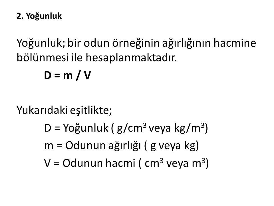 2. Yoğunluk Yoğunluk; bir odun örneğinin ağırlığının hacmine bölünmesi ile hesaplanmaktadır. D = m / V Yukarıdaki eşitlikte; D = Yoğunluk ( g/cm 3 vey