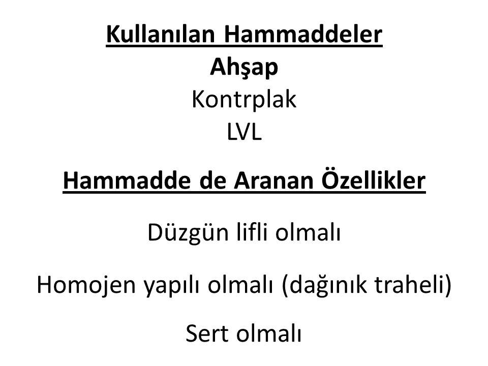 Kullanılan Hammaddeler Ahşap Kontrplak LVL Hammadde de Aranan Özellikler Düzgün lifli olmalı Homojen yapılı olmalı (dağınık traheli) Sert olmalı