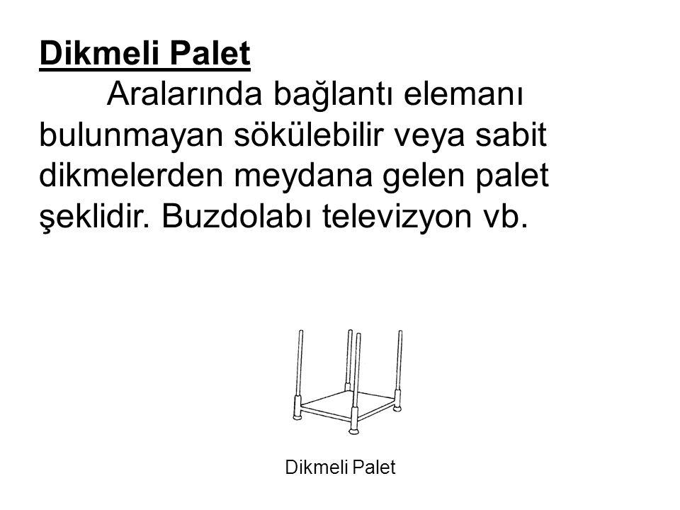 Dikmeli Palet Aralarında bağlantı elemanı bulunmayan sökülebilir veya sabit dikmelerden meydana gelen palet şeklidir. Buzdolabı televizyon vb. Dikmeli