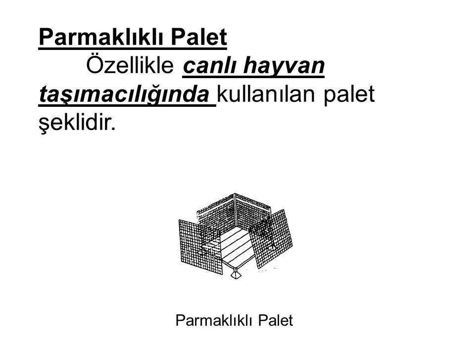 Parmaklıklı Palet Özellikle canlı hayvan taşımacılığında kullanılan palet şeklidir. Parmaklıklı Palet