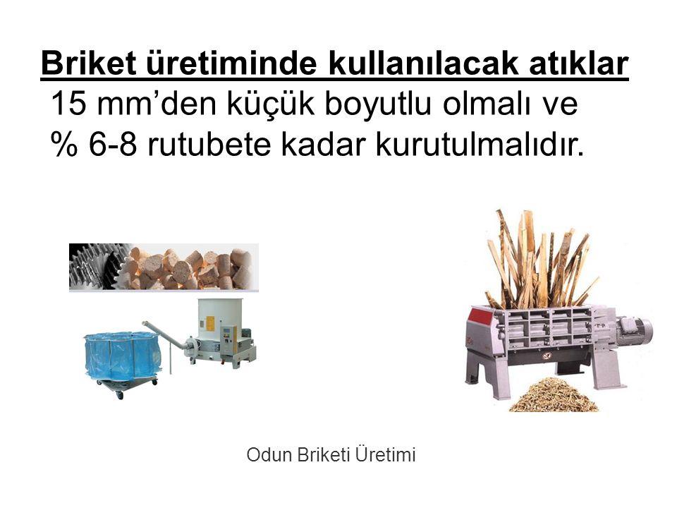 Briket üretiminde kullanılacak atıklar 15 mm'den küçük boyutlu olmalı ve % 6-8 rutubete kadar kurutulmalıdır. Odun Briketi Üretimi