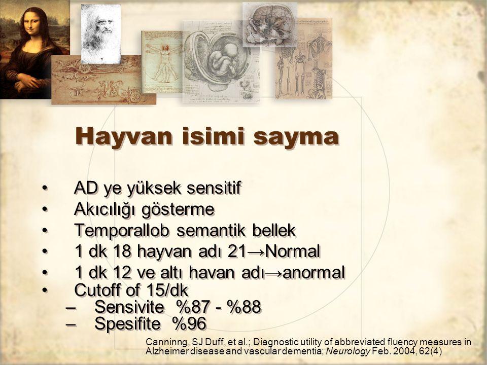Hayvan isimi sayma AD ye yüksek sensitif Akıcılığı gösterme Temporallob semantik bellek 1 dk 18 hayvan adı 21→Normal 1 dk 12 ve altı havan adı→anormal