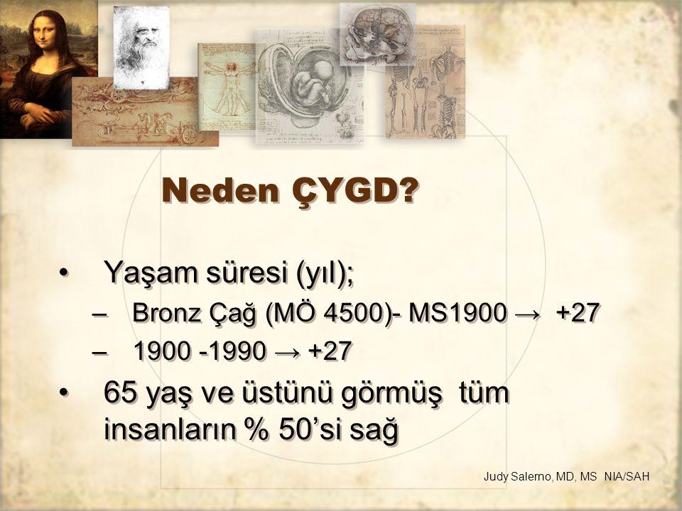 Neden ÇYGD? Yaşam süresi (yıl); –Bronz Çağ (MÖ 4500)- MS1900 → +27 –1900 -1990 → +27 65 yaş ve üstünü görmüş tüm insanların % 50'si sağ Yaşam süresi (