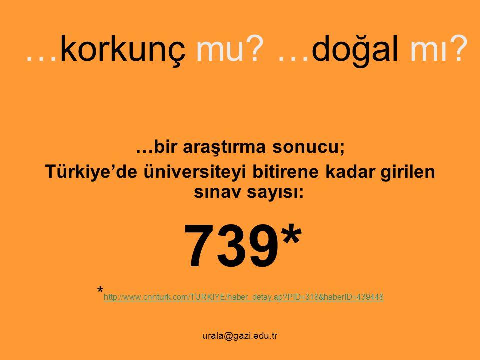urala@gazi.edu.tr …korkunç mu? …doğal mı? …bir araştırma sonucu; Türkiye'de üniversiteyi bitirene kadar girilen sınav sayısı: 739* * http://www.cnntur