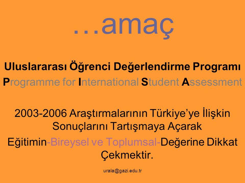 urala@gazi.edu.tr …amaç Uluslararası Öğrenci Değerlendirme Programı Programme for International Student Assessment 2003-2006 Araştırmalarının Türkiye'