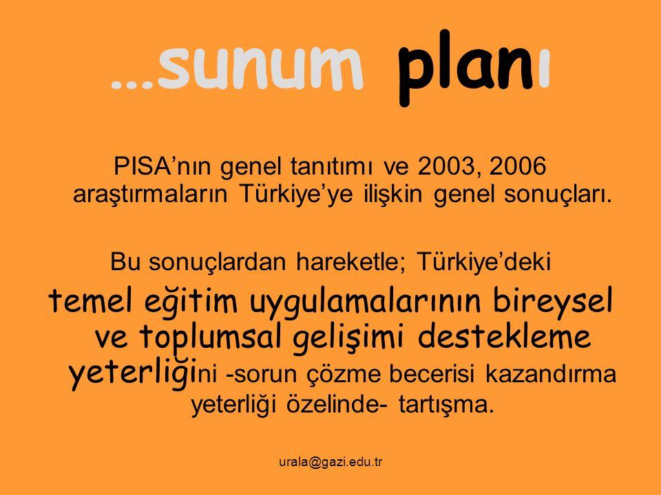 urala@gazi.edu.tr …sunum planı PISA'nın genel tanıtımı ve 2003, 2006 araştırmaların Türkiye'ye ilişkin genel sonuçları. Bu sonuçlardan hareketle; Türk