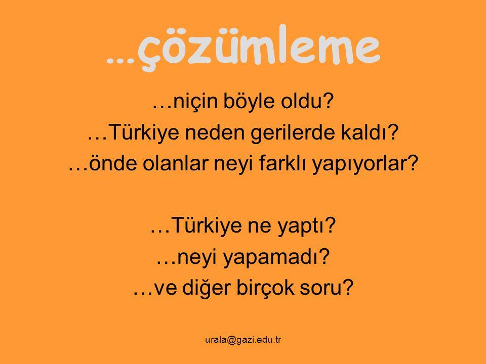 urala@gazi.edu.tr …çözümleme …niçin böyle oldu? …Türkiye neden gerilerde kaldı? …önde olanlar neyi farklı yapıyorlar? …Türkiye ne yaptı? …neyi yapamad