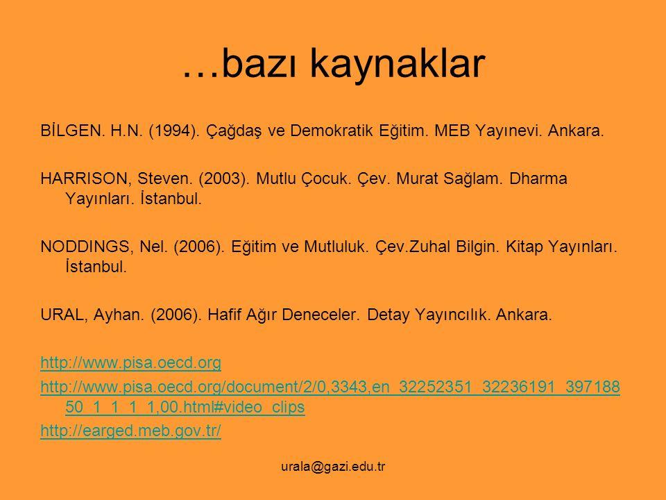 urala@gazi.edu.tr …bazı kaynaklar BİLGEN. H.N. (1994). Çağdaş ve Demokratik Eğitim. MEB Yayınevi. Ankara. HARRISON, Steven. (2003). Mutlu Çocuk. Çev.