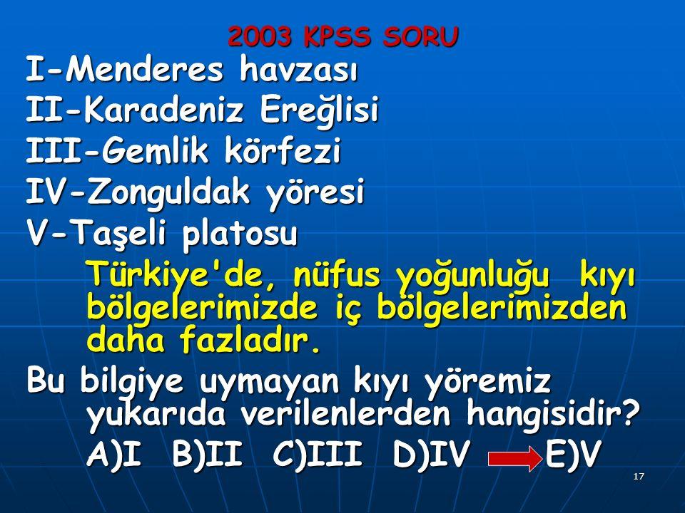 17 2003 KPSS SORU I-Menderes havzası II-Karadeniz Ereğlisi III-Gemlik körfezi IV-Zonguldak yöresi V-Taşeli platosu Türkiye de, nüfus yoğunluğu kıyı bölgelerimizde iç bölgelerimizden daha fazladır.