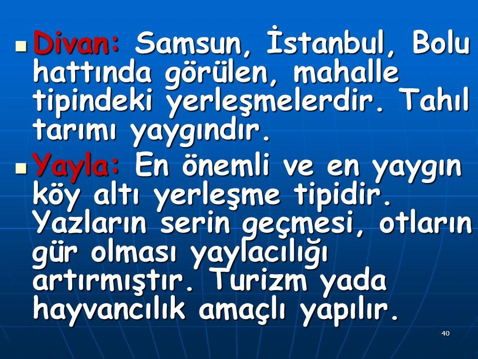 40 Divan: Samsun, İstanbul, Bolu hattında görülen, mahalle tipindeki yerleşmelerdir.
