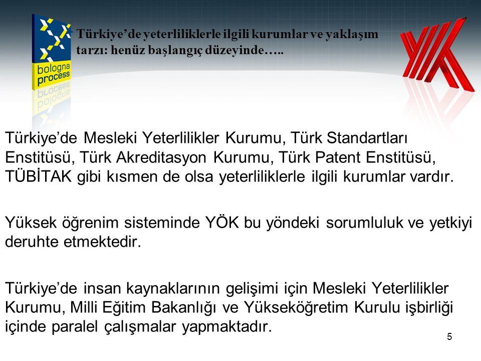 Türkiye'de Mesleki Yeterlilikler Kurumu, Türk Standartları Enstitüsü, Türk Akreditasyon Kurumu, Türk Patent Enstitüsü, TÜBİTAK gibi kısmen de olsa yeterliliklerle ilgili kurumlar vardır.