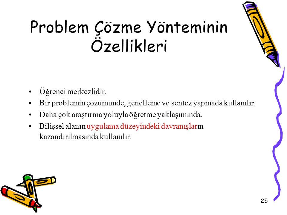 25 Problem Çözme Yönteminin Özellikleri Öğrenci merkezlidir. Bir problemin çözümünde, genelleme ve sentez yapmada kullanılır. Daha çok araştırma yoluy