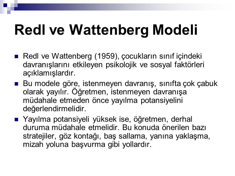 Redl ve Wattenberg Modeli Redl ve Wattenberg (1959), çocukların sınıf içindeki davranışlarını etkileyen psikolojik ve sosyal faktörleri açıklamışlardı
