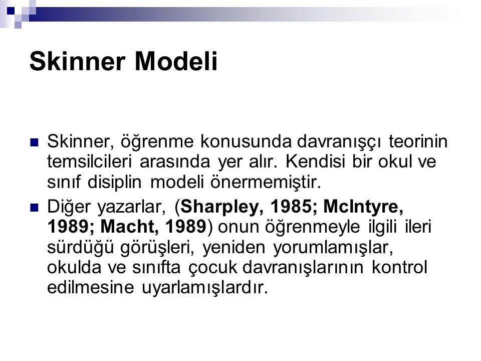 Skinner Modeli Skinner, öğrenme konusunda davranışçı teorinin temsilcileri arasında yer alır. Kendisi bir okul ve sınıf disiplin modeli önermemiştir.