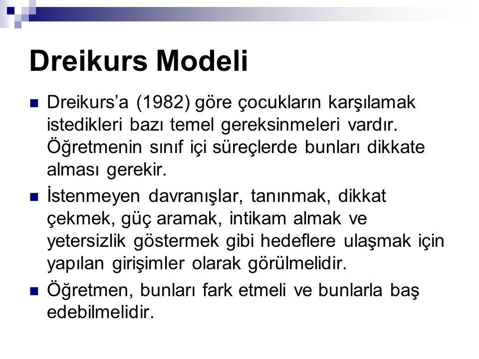 Dreikurs Modeli Dreikurs'a (1982) göre çocukların karşılamak istedikleri bazı temel gereksinmeleri vardır. Öğretmenin sınıf içi süreçlerde bunları dik