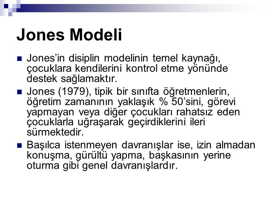 Jones Modeli Jones'in disiplin modelinin temel kaynağı, çocuklara kendilerini kontrol etme yönünde destek sağlamaktır. Jones (1979), tipik bir sınıfta
