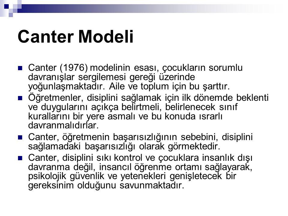 Canter Modeli Canter (1976) modelinin esası, çocukların sorumlu davranışlar sergilemesi gereği üzerinde yoğunlaşmaktadır. Aile ve toplum için bu şartt