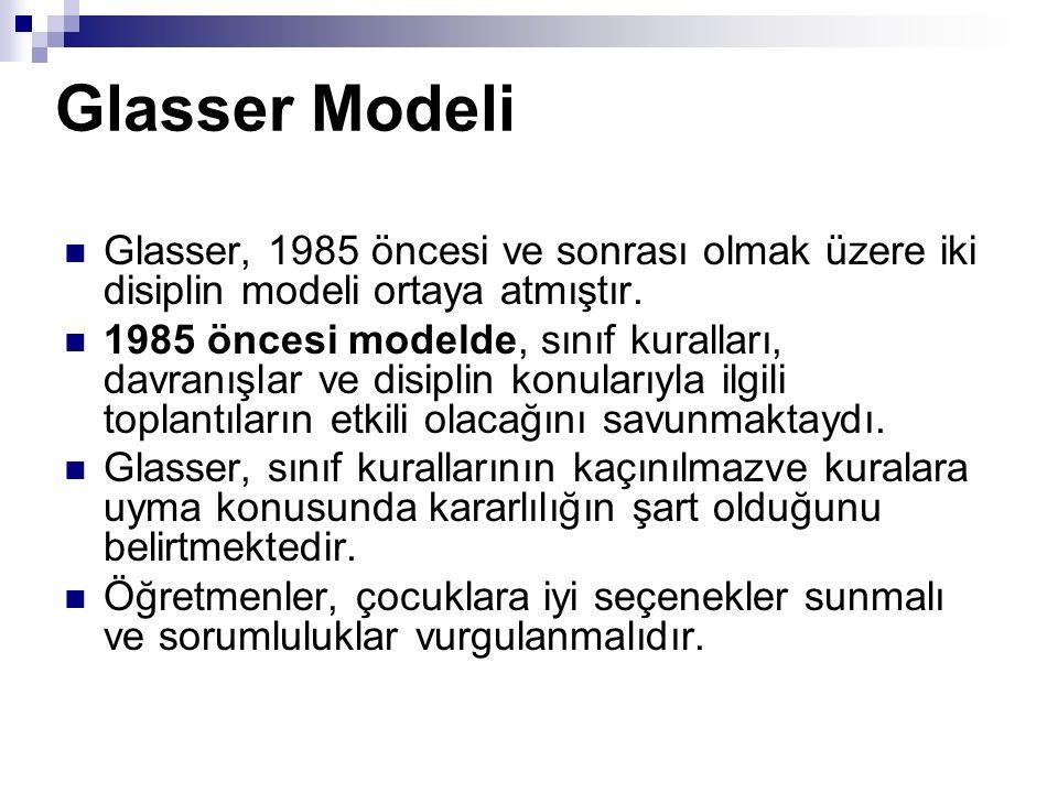 Glasser Modeli Glasser, 1985 öncesi ve sonrası olmak üzere iki disiplin modeli ortaya atmıştır. 1985 öncesi modelde, sınıf kuralları, davranışlar ve d