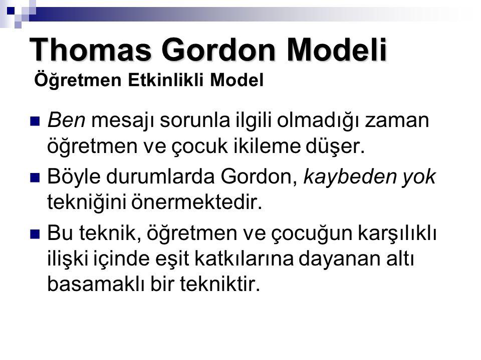 Thomas Gordon Modeli Thomas Gordon Modeli Öğretmen Etkinlikli Model Ben mesajı sorunla ilgili olmadığı zaman öğretmen ve çocuk ikileme düşer. Böyle du