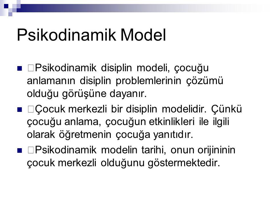 Psikodinamik Model Psikodinamik disiplin modeli, çocuğu anlamanın disiplin problemlerinin çözümü olduğu görüşüne dayanır. Çocuk merkezli bir disiplin