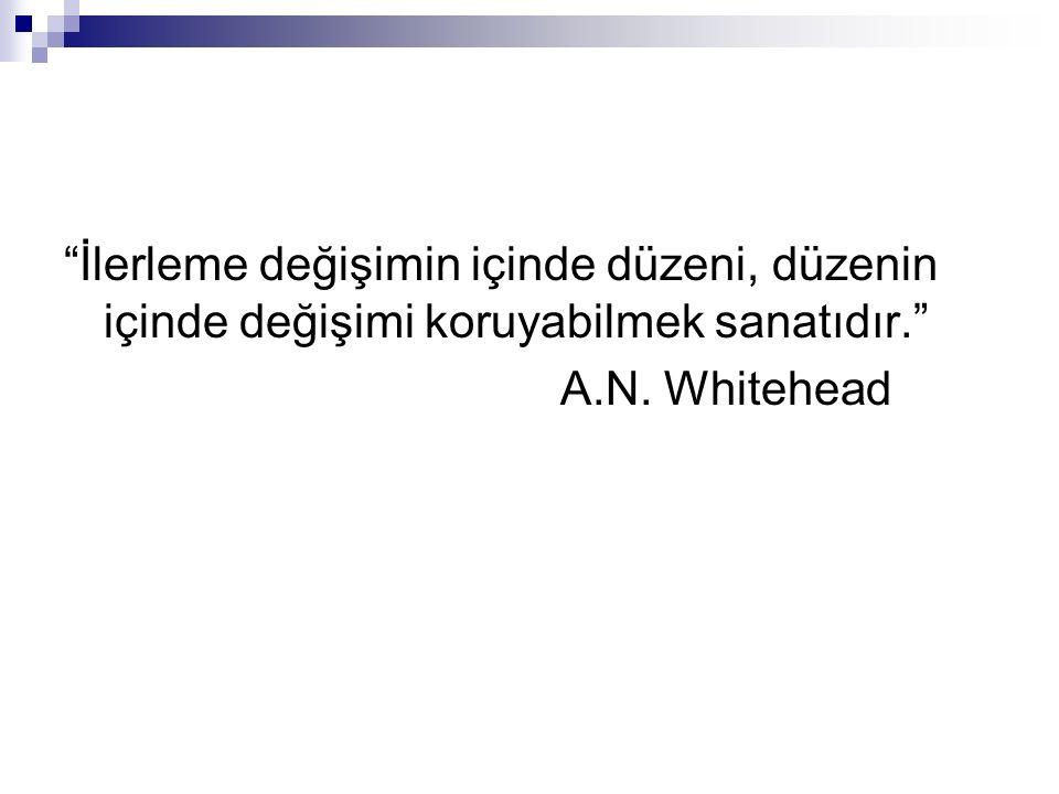 """""""İlerleme değişimin içinde düzeni, düzenin içinde değişimi koruyabilmek sanatıdır."""" A.N. Whitehead"""