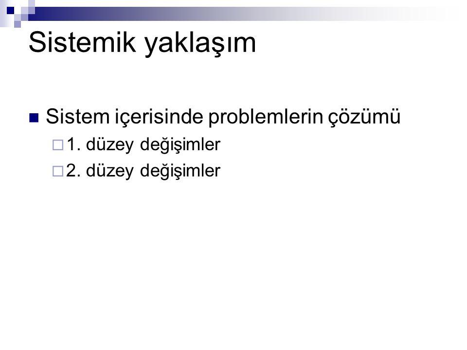 Sistemik yaklaşım Sistem içerisinde problemlerin çözümü  1. düzey değişimler  2. düzey değişimler