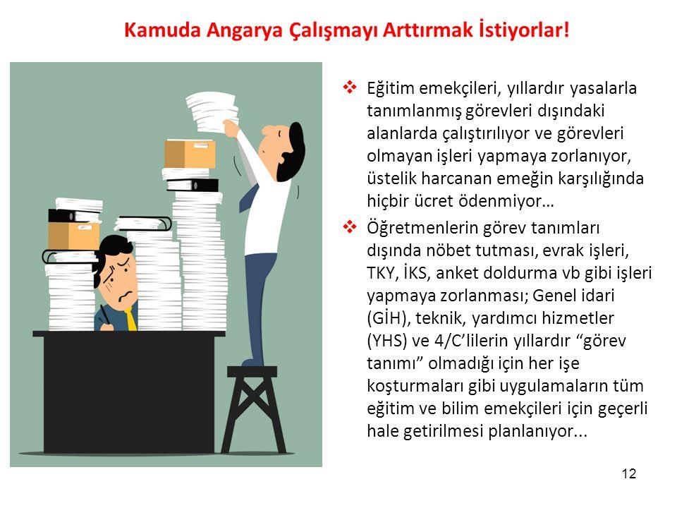 Kamuda Angarya Çalışmayı Arttırmak İstiyorlar! 12  Eğitim emekçileri, yıllardır yasalarla tanımlanmış görevleri dışındaki alanlarda çalıştırılıyor ve