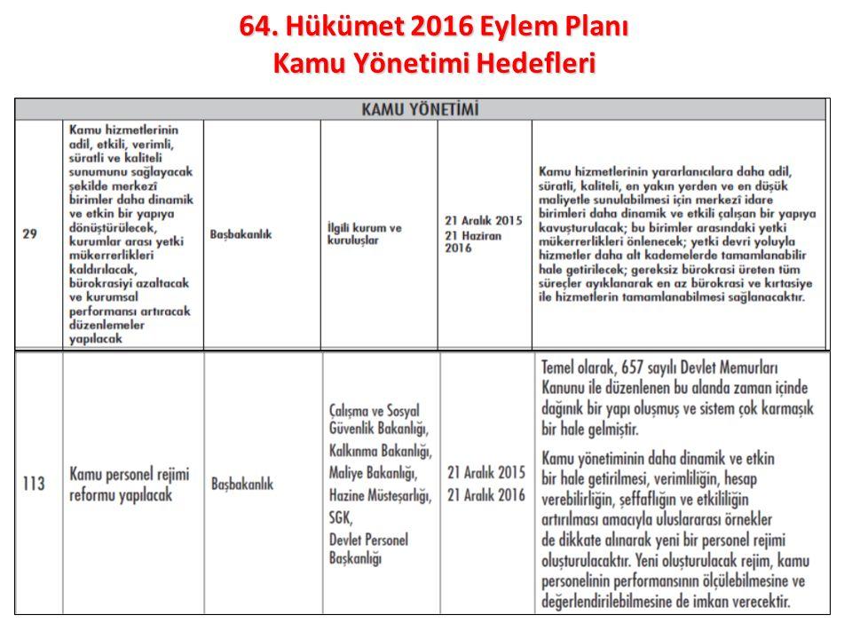 9 64. Hükümet 2016 Eylem Planı Kamu Yönetimi Hedefleri