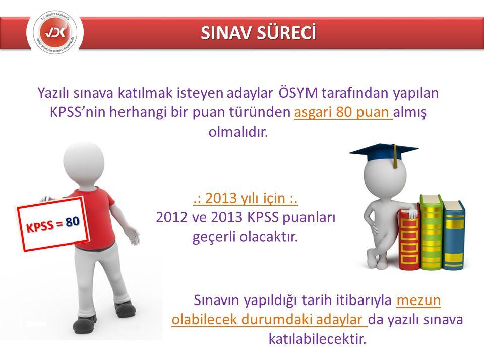SINAV SÜRECİ KPSS = 80 Yazılı sınava katılmak isteyen adaylar ÖSYM tarafından yapılan KPSS'nin herhangi bir puan türünden asgari 80 puan almış olmalıdır..: 2013 yılı için :.