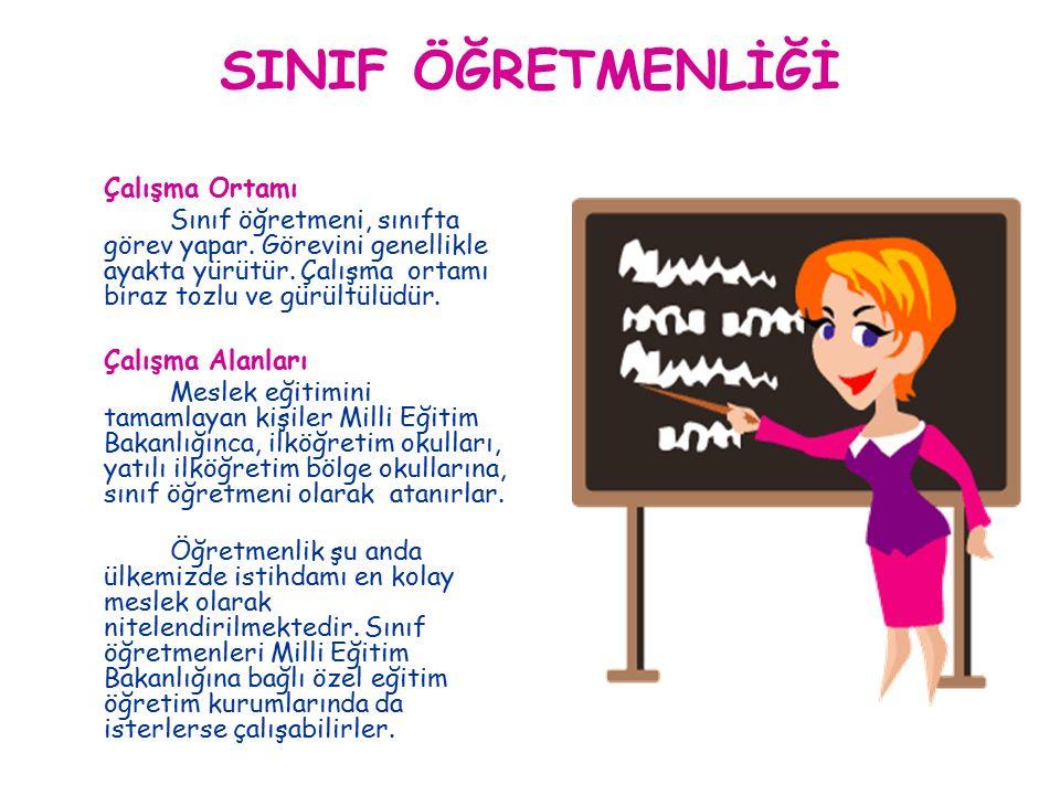 SINIF ÖĞRETMENLİĞİ Çalışma Ortamı Sınıf öğretmeni, sınıfta görev yapar.