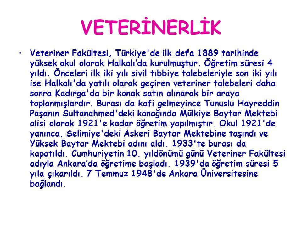 VETERİNERLİK Veteriner Fakültesi, Türkiye de ilk defa 1889 tarihinde yüksek okul olarak Halkalı'da kurulmuştur.