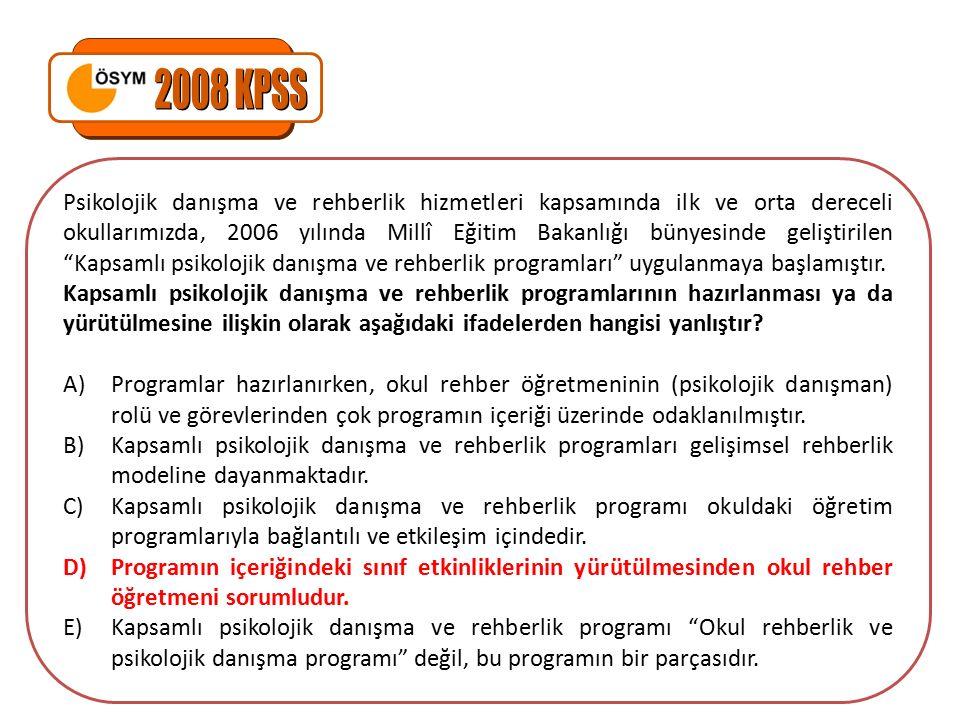Psikolojik danışma ve rehberlik hizmetleri kapsamında ilk ve orta dereceli okullarımızda, 2006 yılında Millî Eğitim Bakanlığı bünyesinde geliştirilen