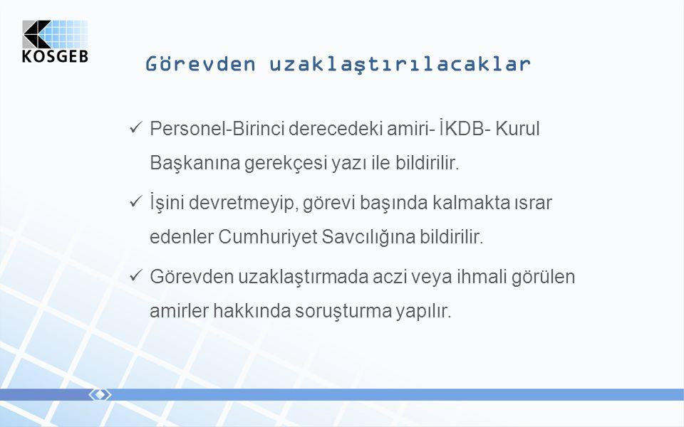Görevden uzaklaştırılacaklar Personel-Birinci derecedeki amiri- İKDB- Kurul Başkanına gerekçesi yazı ile bildirilir.