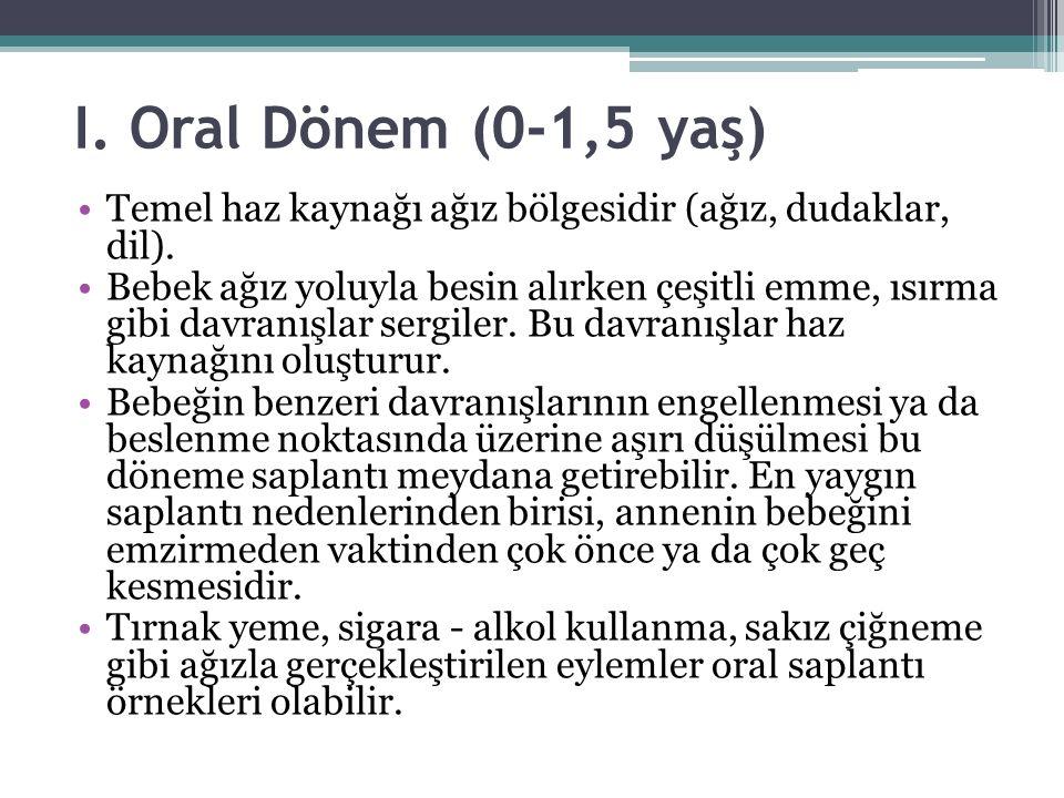I. Oral Dönem (0-1,5 yaş) Temel haz kaynağı ağız bölgesidir (ağız, dudaklar, dil).