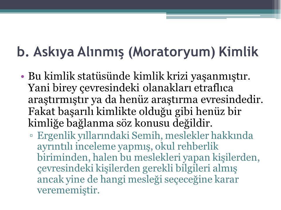 b. Askıya Alınmış (Moratoryum) Kimlik Bu kimlik statüsünde kimlik krizi yaşanmıştır.